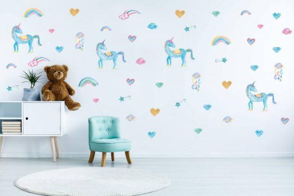 מדבקות קיר חד קרן לחדרי ילדים ותינוקות טורקיז - מיכל נמצוב סטודיו m creative (2) (1)