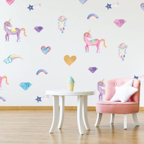 מדבקות קיר חד קרן לחדרי ילדים - מיכל נמצוב סטודיו m creative ורוד סגול