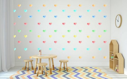 מדבקות קיר לבבות בצבעי הקשת לחדרי ילדים - מיכל נמצוב סטודיו m creative