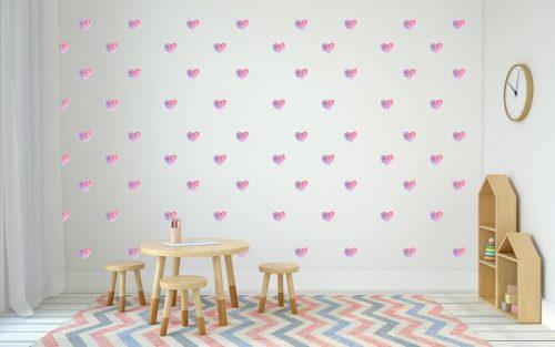 מדבקות קיר לבבות ורודים לחדרי ילדים - מיכל נמצוב סטודיו m creative