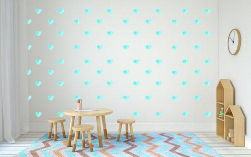 מדבקות קיר לבבות טורקיז לחדרי ילדים - מיכל נמצוב סטודיו m creative