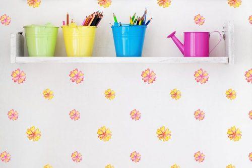 מדבקות קיר פרחים ורודים צהובים לחדרי ילדים - מיכל נמצוב סטודיו m creative