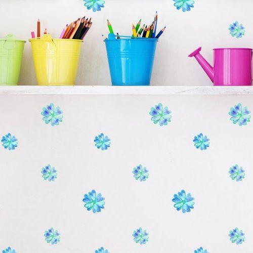 מדבקות קיר פרחים תכלת ירוק - מיכל נמצוב סטודיו m creative