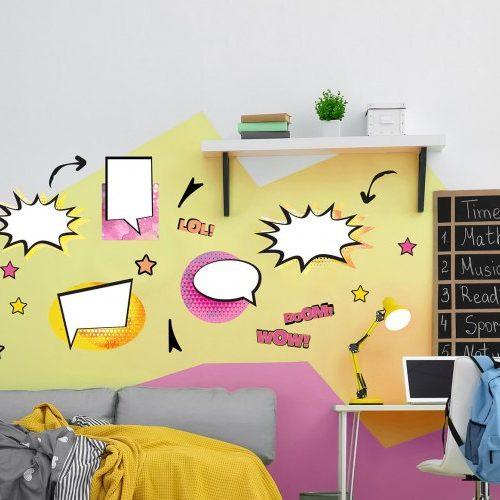 מדבקות קיר קומיקס לחדרי ילדים ונוער ורוד צהוב- מיכל נמצוב סטודיו m creative