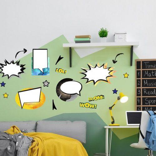מדבקות קיר קומיקס לחדרי ילדים ונוער כחול צהוב- מיכל נמצוב סטודיו m creative