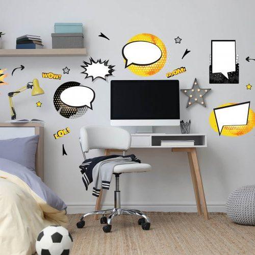 מדבקות קיר קומיקס לחדרי ילדים ונוער שחור לבן צהוב- מיכל נמצוב סטודיו m creative