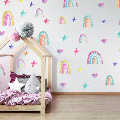 מדבקות קיר קשתות ורוד לחדרי ילדים - מיכל נמצוב סטודיו m creative