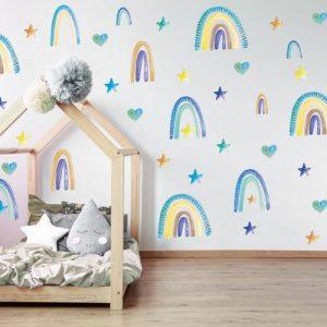 מדבקות קיר קשתות כחול לחדרי ילדים - מיכל נמצוב סטודיו m creative