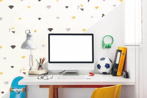 מדבקות קיר יהלומים- אפור שחור זהוב לחדרי ילדים - מיכל נמצוב סטודיו m creative