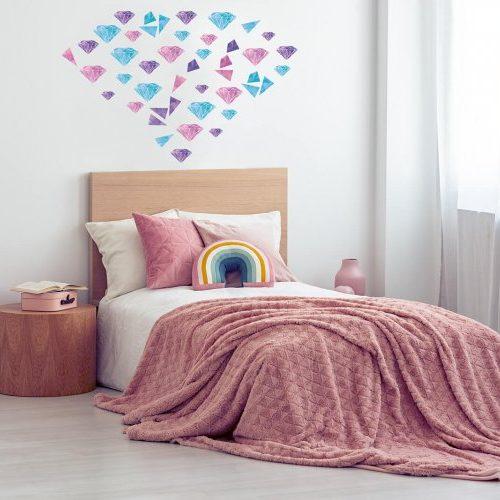מדבקות קיר יהלומים- ורוד סגול תכלת לחדרי ילדים - מיכל נמצוב סטודיו m creative
