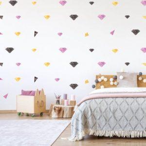 מדבקות קיר יהלומים- ורוד שחור זהוב לחדרי ילדים - מיכל נמצוב סטודיו m creative