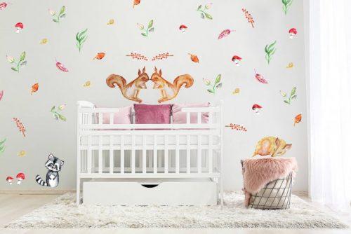 מדבקות קיר יער אירופאי אדמדם לחדרי ילדים - מיכל נמצוב סטודיו m creative