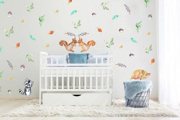 מדבקות קיר יער אירופאי כחול ירוק לחדרי ילדים - מיכל נמצוב סטודיו m creative