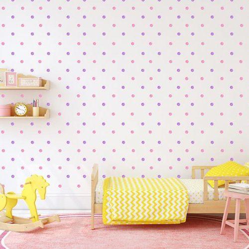 מדבקות קיר נקודות ורוד סגול פסטלי לחדרי ילדים - מיכל נמצוב סטודיו m creative