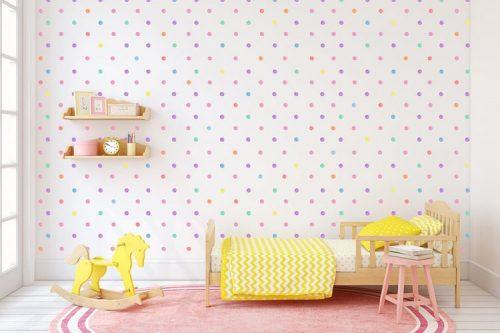מדבקות קיר נקודות פסטליות צבעוניות לחדרי ילדים - מיכל נמצוב סטודיו m creative