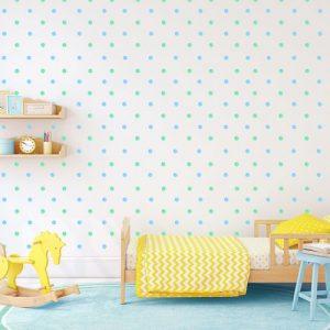 מדבקות קיר נקודות תכלת ירוק פסטלי לחדרי ילדים - מיכל נמצוב סטודיו m creative